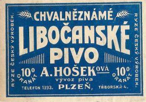 Pivní etiketa Libočanské pivo