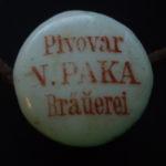 Porcelánový patent Pivovar Nová Paka cca 1890